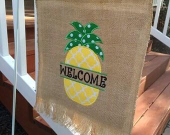 Custom pineapple applique garden flag
