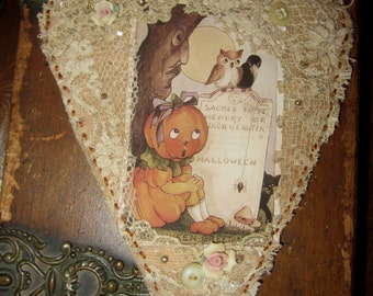 Halloween Pumpkin Girl  Vintage Lace Heart Collage Ornament