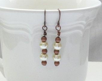 ndb-Ivory Glass Pearl and Copper Dangle Earrings
