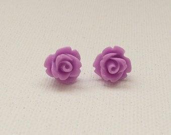 ns-Petite Purple 3d Clay Rose Stud Earrings