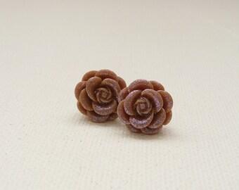 ns-Caramel Dew Kissed Rose Stud Earrings