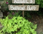 Personalized Birthday Name Wedding Event Sign on Stake Rustic Western Directional