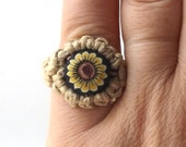 yellow sunflower vintage 1990's hemp ring macrame jewelry fashion accessories modern womens teens polymer clay bead sun flower retro hippie