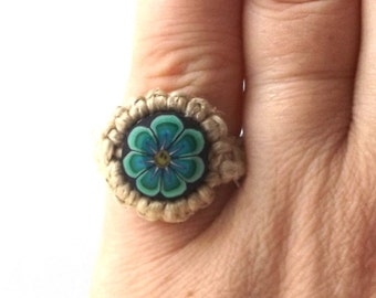 teal daisy flower vintage 1990's hemp ring macrame jewelry fashion accessories modern mens womens teens polymer clay bead smiley face happy