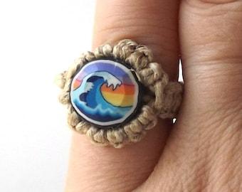 ocean wave vintage 1990's hemp ring macrame jewelry fashion accessories modern womens teens polymer clay bead retro hippie beach sunset blue