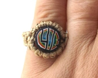 rainbow love vintage 1990's hemp ring macrame jewelry fashion accessories modern womens teens polymer clay bead retro hippie gay pride blue