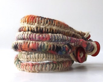 macrame bracelet hemp multi colored yarn woven weave colorful bright womens fashion jewelry hippie boho sz 8 wrist modern orange pink purple