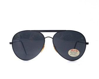 vintage 1980's NOS black metal aviator sunglasses frames dark glass lenses sun glasses eyewear accessories modern retro men women oversized