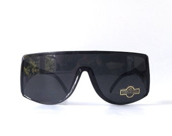 vintage 1980's wrap around black plastic frames ski sunglasses single black lens mens womens fashion accessories oversized sun glasses retro