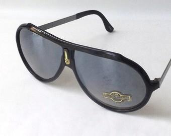 vintage 1980's NOS aviator sunglasses black plastic silver metal frames mirror lenses sun glasses eyewear oversized sports women mens retro