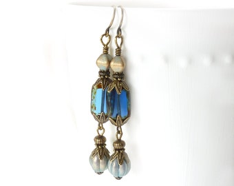 Sapphire Blue Dangle Earrings - Victorian Style - Metallic Glass Beads - Antiqued Bronze - Long Earrings - Sapphire Jewelry