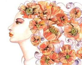 Goddess Art Print Persephone w/ Poppy Flowers Autumn Print Art Nouveau Goddess Painting Pink Poppies Wall Art Fall Decor