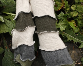 Up-Cycled Cashmere Green, Grey, and Cream Arm Warmers