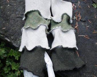 Up-Cycled Cashmere Grey, Green, & White Arm Warmers