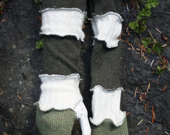 Up-Cycled Cashmere Dark Grey, White, Green Arm Warmers