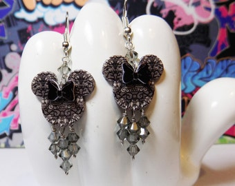 Mickey or Minnie Mouse Haunted Mansion Gray Wallpaper Double Sided Print Dangle Earrings