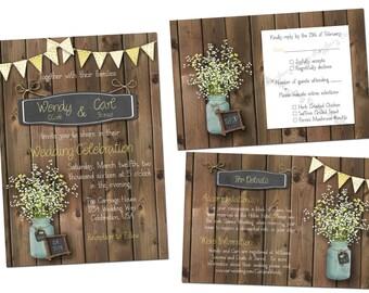 Mason Jar Wedding Invitation Set, Rustic Wedding Invite, Mason Jar Invitation, Printable Wedding Set, Country Wedding, Mason Jar, Flowers