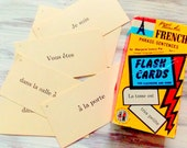 Vintage French Flash Cards  / Set of 5 / Junk Journal / Daily Planner