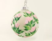 Large Hand-Painted Christmas Ball Ornament - Classic Elegant Pink Roses on Frost Ornament - Christmas Holidays Party Favor Hostess Gift Idea