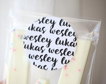 Custom Name favor labels, birthday, school, baby shower, bridal shower labels