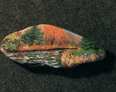 Painted Rocks, art and collectibles, acrylic landscape, mountain stream