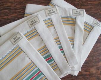 5 Czech Linen Napkins Hem Stitched Stripes New with Tags