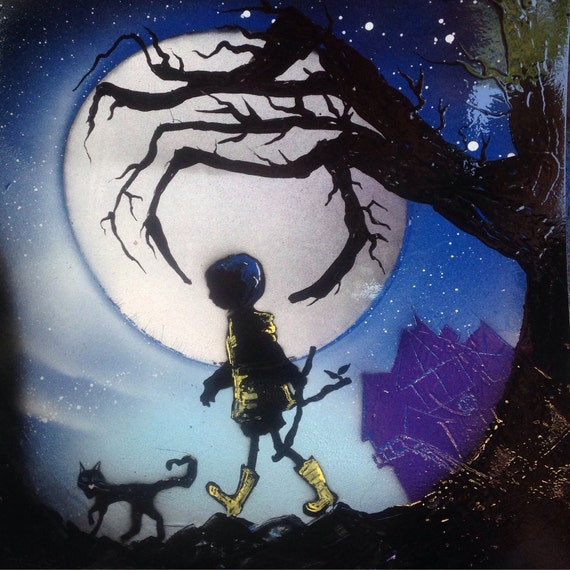 Coraline Book Original Spray Paint Art Poster 11x14