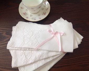 Set to 10 Vintage White Cotton Napkins