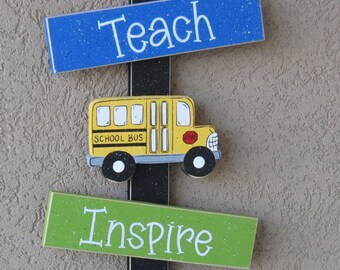 School Thoughts, bus, teacher, apple, back to school, crayon, wall, door, office, and home decor