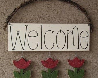 WELCOME SIGN (TULIPS) for wall and home decor