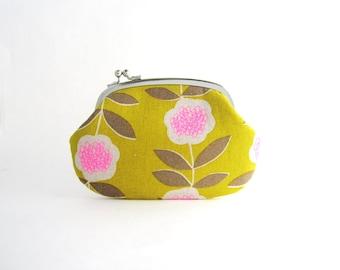 Sidelock Frame Purse Wallet - Neon Flower on Yellow