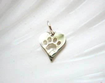 Sterling Silver Heart Paw Print Charm - Dog Cat Pawprint - Add On