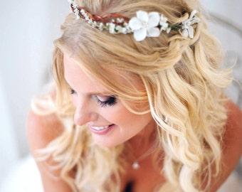 woodland halo, bridal flower crown, bridal headpiece, white floral wreath, bridal flower crown, boho wreath, bohemian wedding, hair wreath