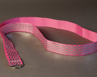 Pink and silver chevron zigzag lanyard