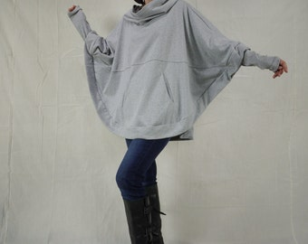 Light Heather Grey Cotton Mix Polyester Jersey Oversize Hood Cape Batwing Sweater Dolman Sleeve Blouse Women Tops Size 4 To Size 3X
