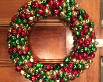 "15"" Jingle Bells Holiday Wreath, Christmas Wreaths for Door, Christmas Holiday Wreath, Christmas Holiday Wreath, Jingle Bells"