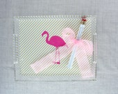 Pink Flamingo Lucite Tray with Handles | Flamingos for a Cure | Breast Cancer Awareness