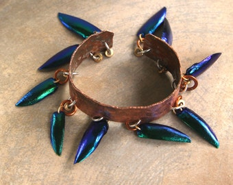 Hammered Copper Cuff Bracelet with Iridescent Beetle Wing Dangles Shimmering Blue-Green Elytra Wings on Rustic Raw Copper