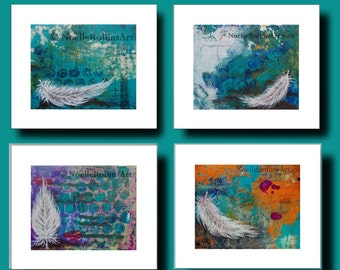 Set of 4 feather art prints each in an 11 inch by 14 inch white mat   heavenly spiritual signs of feathers sacred hellos handmade mn