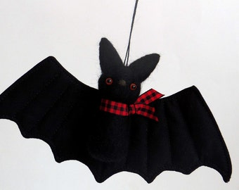 Spooky bat plush - needle felted bat ornament with red eyes, red plaid scarf, Halloween decor