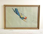 Vintage Poster / Airplane Print / 1940's Vintage WW2 Framed Bomber Print
