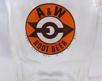 Vintage A And  W Root Beer Mug Heavy Glass Orange & Brown Arrow Logo