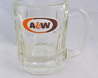 Vintage A And W Root Beer Mug Heavy Glass Orange & Brown Logo 3-1/4""