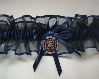 Navy Blue FIREFIGHTER Fireman Wedding garters Garter Keep