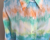 Vintage 1970s Color Wash Secretary Blouse - Terry of Chicago