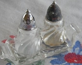 Vintage miniature glass salt and pepper shakers with glass tray