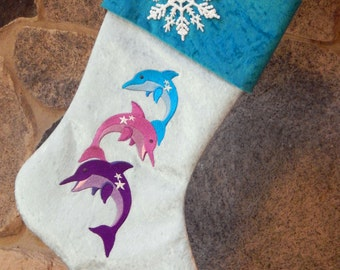 Embroidered Dolphin Stack Christmas Holiday Stocking - Custom Order
