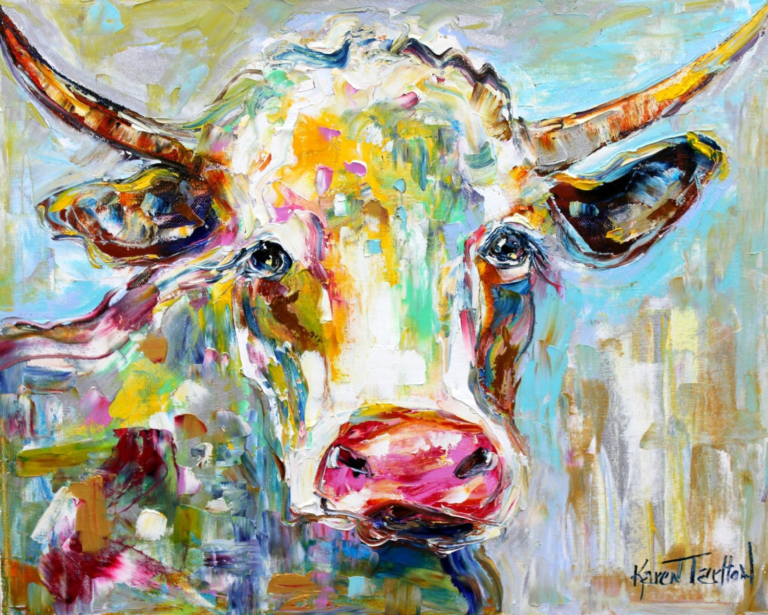 Original oil painting longhorn texas cow abstract by for Peinture mural original