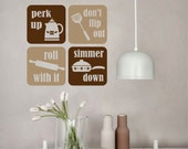 Whimsical Vinyl Wall Lettering Perk Up Simmer Down 2 color Kitchen Decal Set of 4