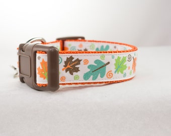 Glitter Leaves Fall Dog Collar - 1 inch wide - buckle or martingale collar - halloween dog collars - thanksgiving dog collar - holiday dog